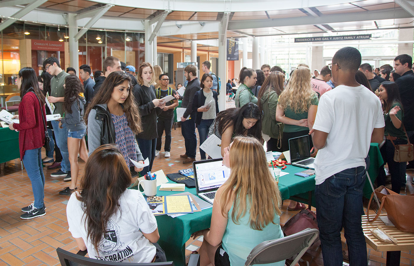 Students in a crowded career fair.